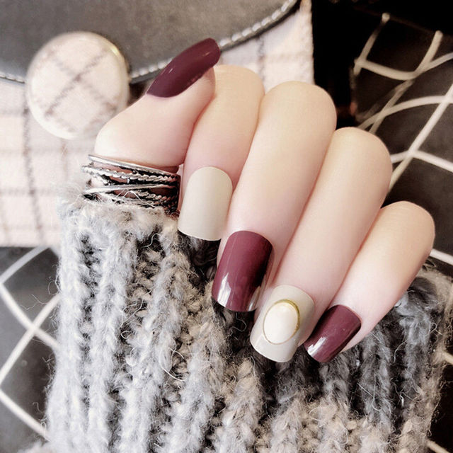 Artificial Acrylic False Nails Tips Press On Short Length Manicure Gel Polish Extension Design
