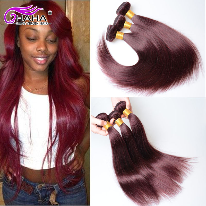 Rosa Hair Products 7a Remy 99j Red Peruvian Straight Virgin Hair 2