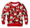 Varejo 2017 moda dos desenhos animados Mickey Minnie meninos meninas roupas de manga comprida camisa dos miúdos t crianças cobre t para a roupa de outono