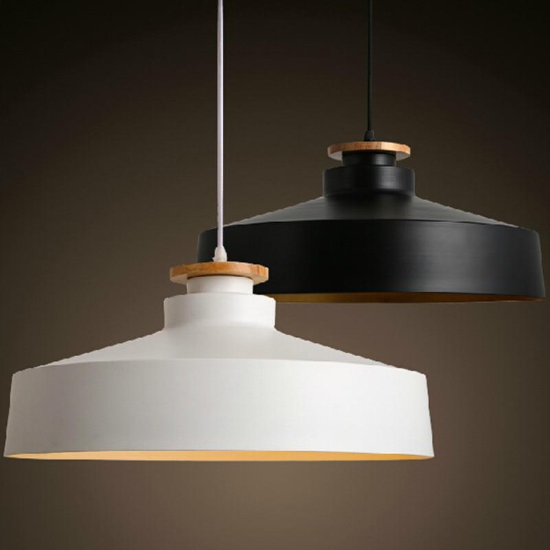 Restaurant Bar American Country Vintage White/black Chandelier Aluminum Manchurian Ash Wood Droplight Send The LED Blub