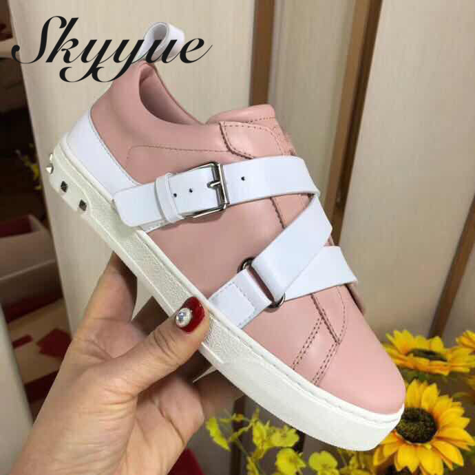 SKYYUE New Genuine Leather Lace Up Women Casual Flats Top Quality Brand Round Toe Comfortable Flats Shoes Women foreada genuine leather shoes women flats round toe lace up oxfords shoes real leather casual boat shoes brown pink size 34 40