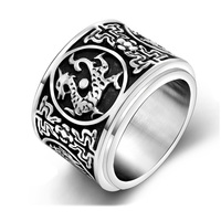 16mm Wide Vintage Retro Jewelry Stainless Steel Pave Inside Dragon Rings Men Biker Ring USA UK