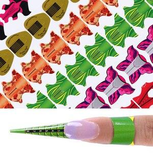 100 шт., клейкая форма для наращивания ногтей УФ-гелем, воздушный змей в форме цветка, овальная квадратная форма, инструменты для дизайна ногт...
