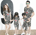 The parent-child camouflage suit 2016 summer cotton short sleeved dress female couples dress code  Free shipping