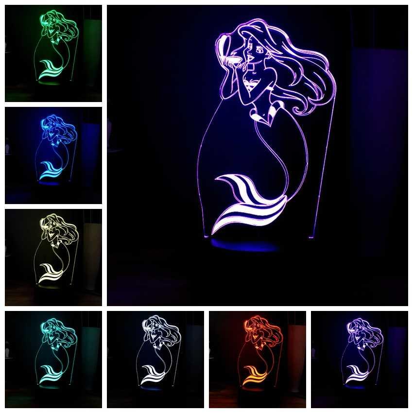 ภาพลวงตาการ์ตูน 3D โคมไฟที่สวยงาม Little Mermaid เปลี่ยนแฟลชไฟตกแต่ง USB MiNi รีโมทคอนโทรล LED Night Light