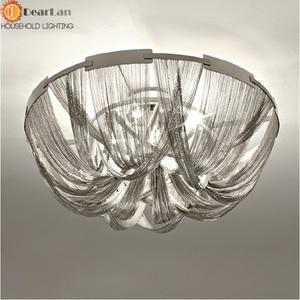 Image 2 - Modern Style Silver Cloth Art Pendant Lamp Engineering Design Luxury Chain Tassel Aluminum Chain LED Pendant Lights(CQ 50)