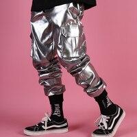 Men Casual Leather Harem Pant Male Streetwear Hip Hop Punk Silver Multi Pocket Cargo Trouser Stage Clothes DJ Singer Pant