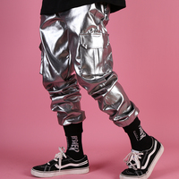 Men Casual Leather Harem Pant Male Streetwear Hip Hop Punk Silver Multi Pocket Cargo Trouser Stage Clothes DJ Singer Pant