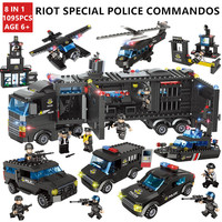 1095Pcs City SWAT Vehicle Car Helicopter ARMY Building Blocks Technic Bricks Playmobil Toys for Children