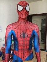 2017 New Spider Man Superhero Costume 3D Print Fullbody Halloween Cosplay Suit Spiderman Costume For Adult