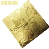 10 قطعة 24 كيلو رقائق الذهب مطلي 5 20 50 500 10 يورو فاتورة ورقية وهمية الذهب الأوراق النقدية ورقة المال 100 يورو المال