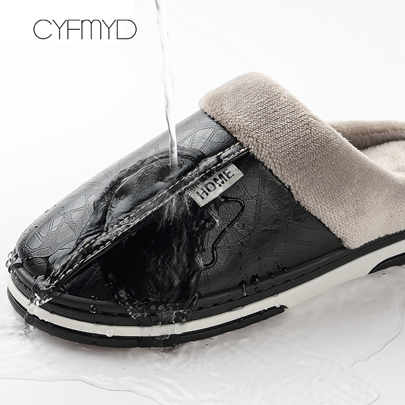 Image 2 - Men slippers leather winter warm house slippers waterproof 2019 brand anti dirty plush male shoes non slip plus size 7.5 16-in Slippers from Shoes