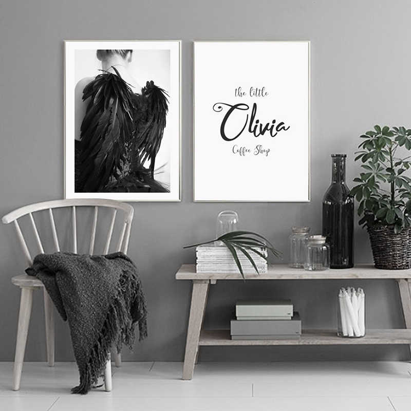 Cozy Fashion Feather Girl Canvas Painting Art Print Poster Picture Wall Modern Minimalist Bedroom Living Room Decoration Ot237 Living Room Decoration Art Print Posterpicture Wall Aliexpress