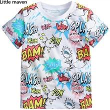 Little maven kids brand clothing 2016 new summer boys short sleeve O-neck t shirt Cotton fashion printing brand tee tops L068