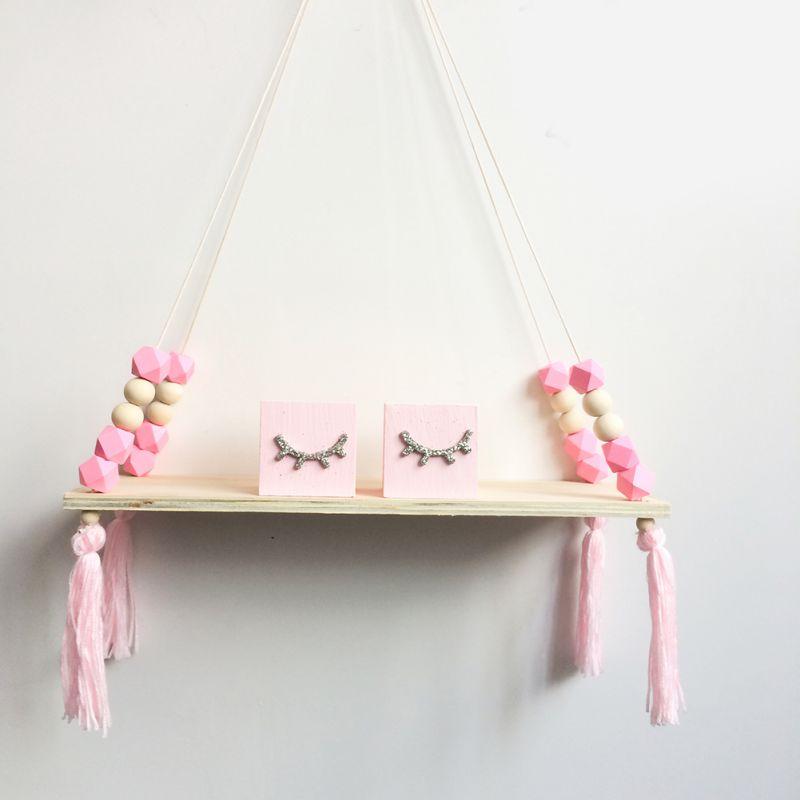 Creative Kids Room Wooden Beads Tassel Wall Shelf Room Storage Organization Swing Shelf Wall Hanging Decor