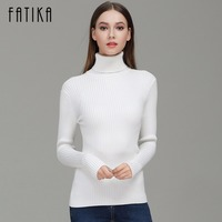 FATIKA 2017 Fashion Women Turtleneck Full Sleeve Brief Slim Pullovers Solid Elegant Knitted Skinny Sweater Jumpers
