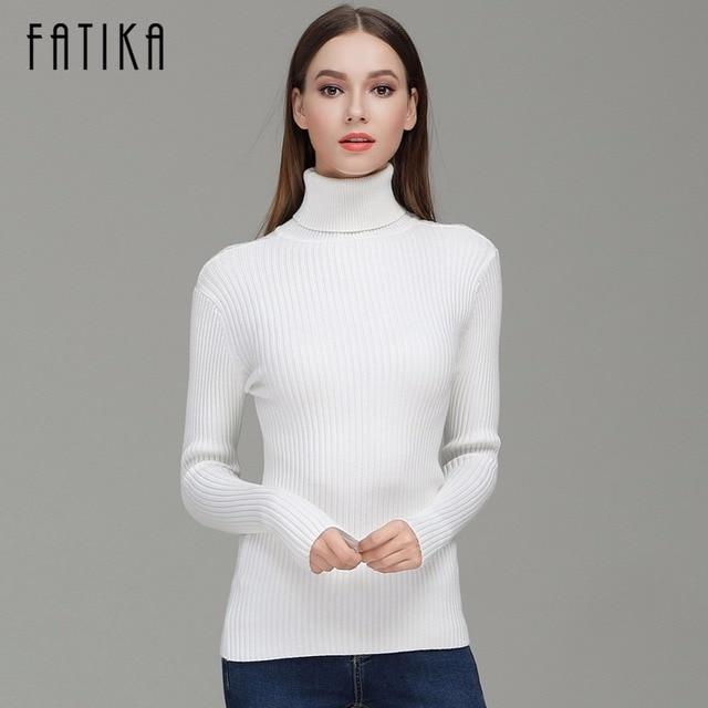 Fatika Мода 2017 г. Для женщин Высокий воротник длинный рукав краткое тонкий Пуловеры для женщин однотонные элегантные Трикотажные Узкие свитер Перемычки для дам