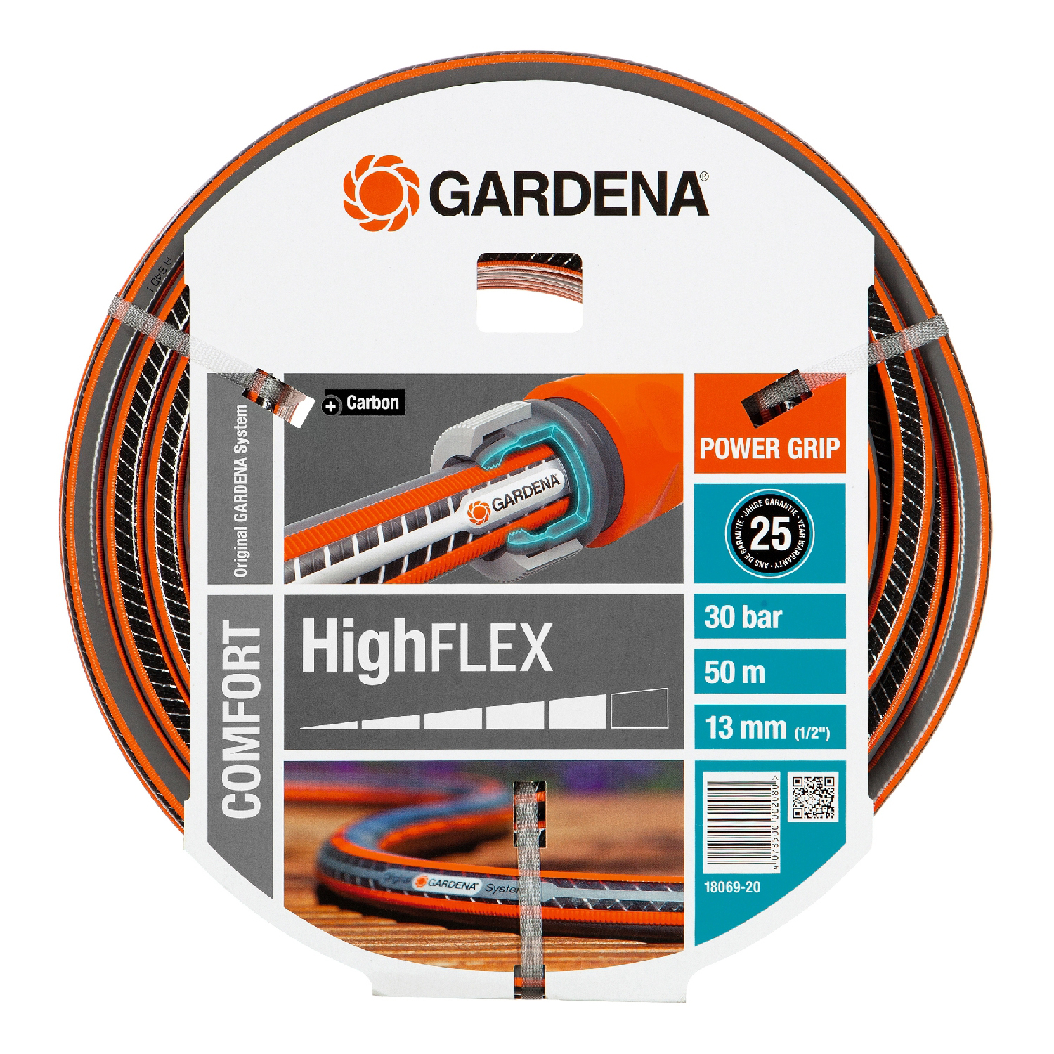 Hose поливочный GARDENA 18069-20.000.00 (Length 50 m, diameter 13mm (1/2) maximum pressure 30 bar, reinforced, светонепроницаем, resistant to ultraviolet radiation) dropper internal equalizing pressure gardena 2l h 10 pcs in blister home