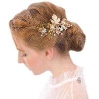 Mode Retro Bruid Vrouwen Goud Kleur Blad Strass Haar Clip Haarspeld Prom Bridal Accessoire