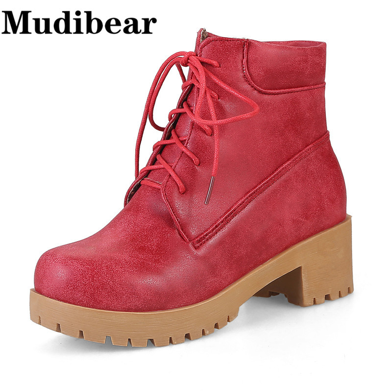 Mudibear Ankle Boots For Woman Autumn Winter Thick Heel Platform Shoes New Fashion Women's Martin Boots For Girls Lady Work Shoe bottes femmes 2017 autumn fashion martin boots leather shoes woman platform square medium heel ankle boots for women plus size