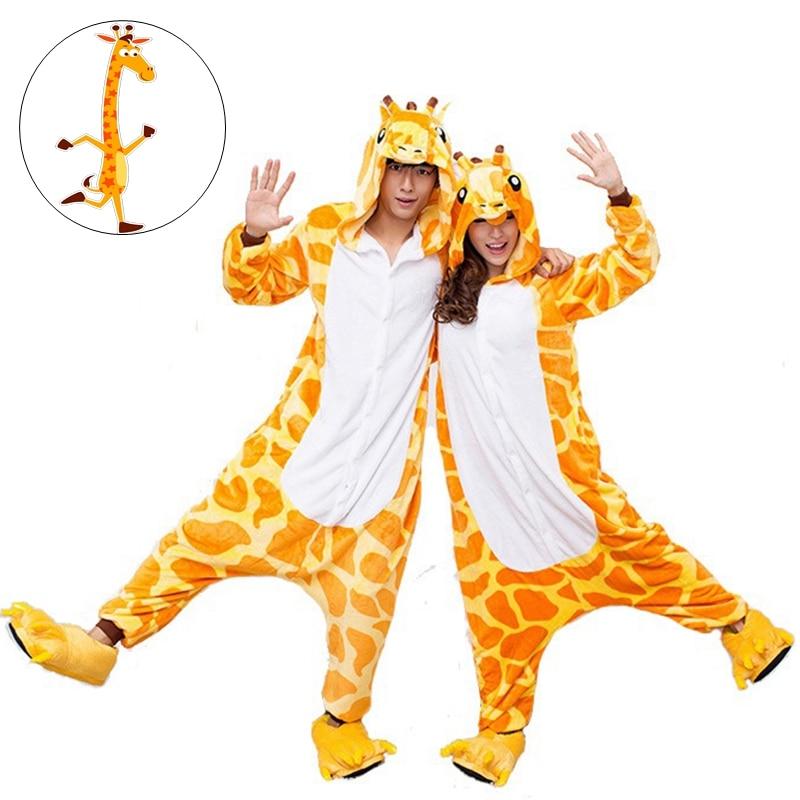 Cute Giraffe Cartoon Adult Unisex Autumn Winter Animal Cosplay Pajamas Sleepwear Onesies Pajama For Women Men Couples Girls