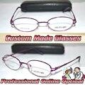 Óptico por encargo lente óptica aleación de titanio semi borde púrpura rojo mujeres del marco ovalado gafas de lectura 1 + 1.5 + 2 + 2.5 + 3 + 3.5 + 6