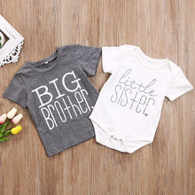 Cute Toddler Kids Boys Baby Girls Gray T-shirt Big Brother T-shirt Little Sister Cotton Bodysuit Short Sleeve Letter Tops Summer pudcoco children clothing little brother bodysuit and big sister t shirt matchables summer outfits