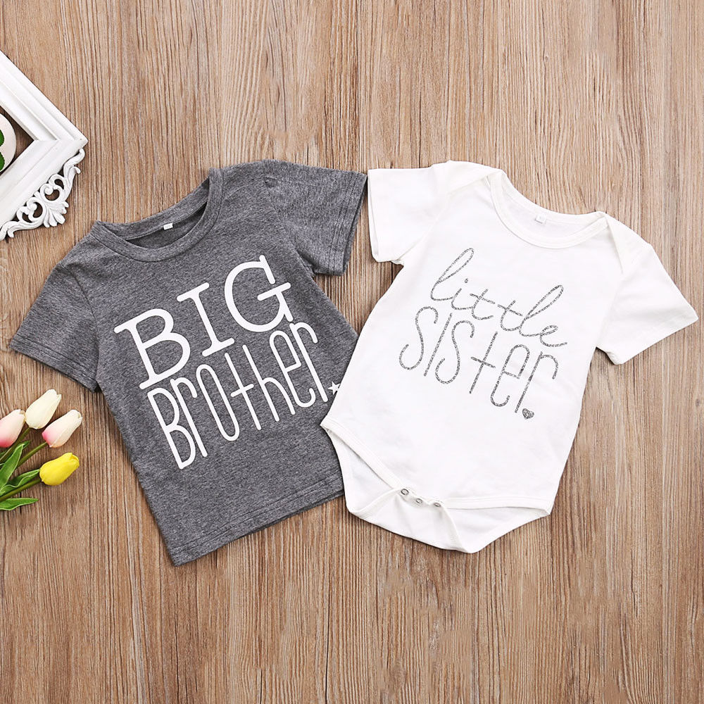 Toddler Kids Boys Baby Girls Gray T-shirt Big Brother T-shirt Little Sister Cotton Bodysuit Short Sleeve Letter Tops Summer