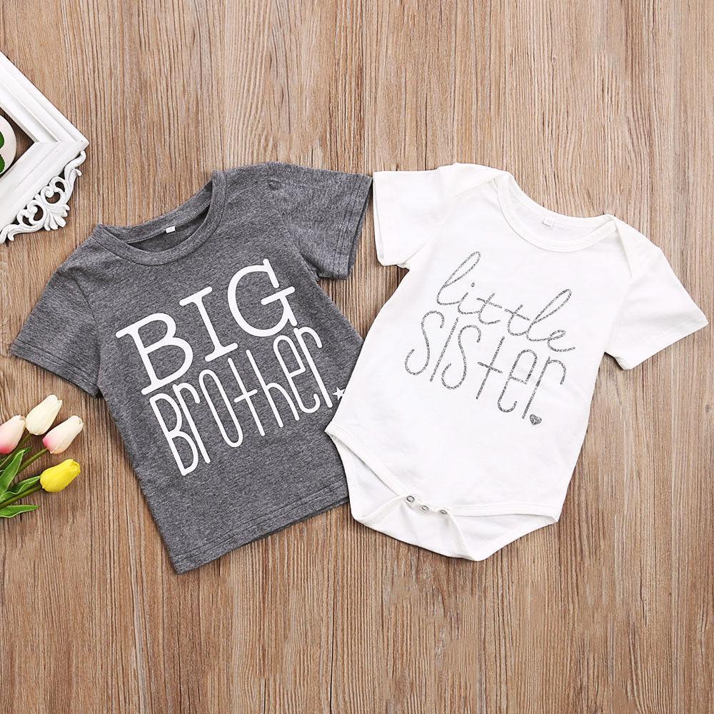 Toddler Kids Boys Baby Girls Gray T-shirt Big Brother T-shirt Little Sister Cotton Bodysuit Short Sleeve Letter Tops Summer