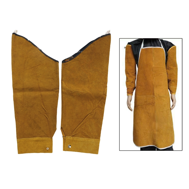 Free Shipping Split Leather Heat Resistant Welding Sleeves Protective Armband for Welding Tool-in Safety Clothing from Security & Protection