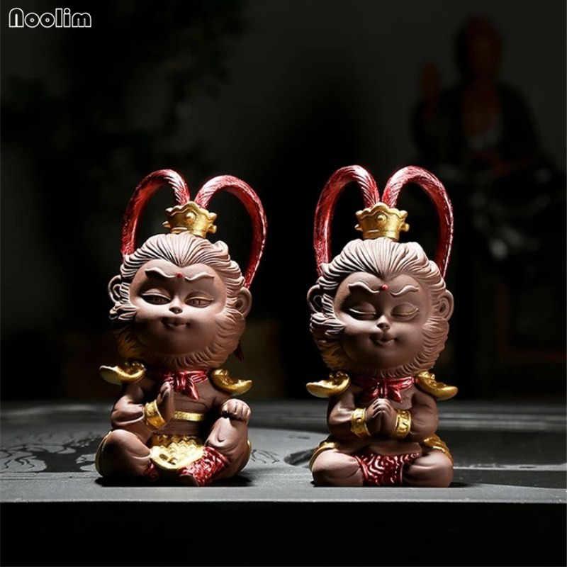 Noolim boutique roxo argila macaco rei ornamentos chá criativo animais de estimação kung fu chá conjunto cerimônia de chá decoração do carro artesanato