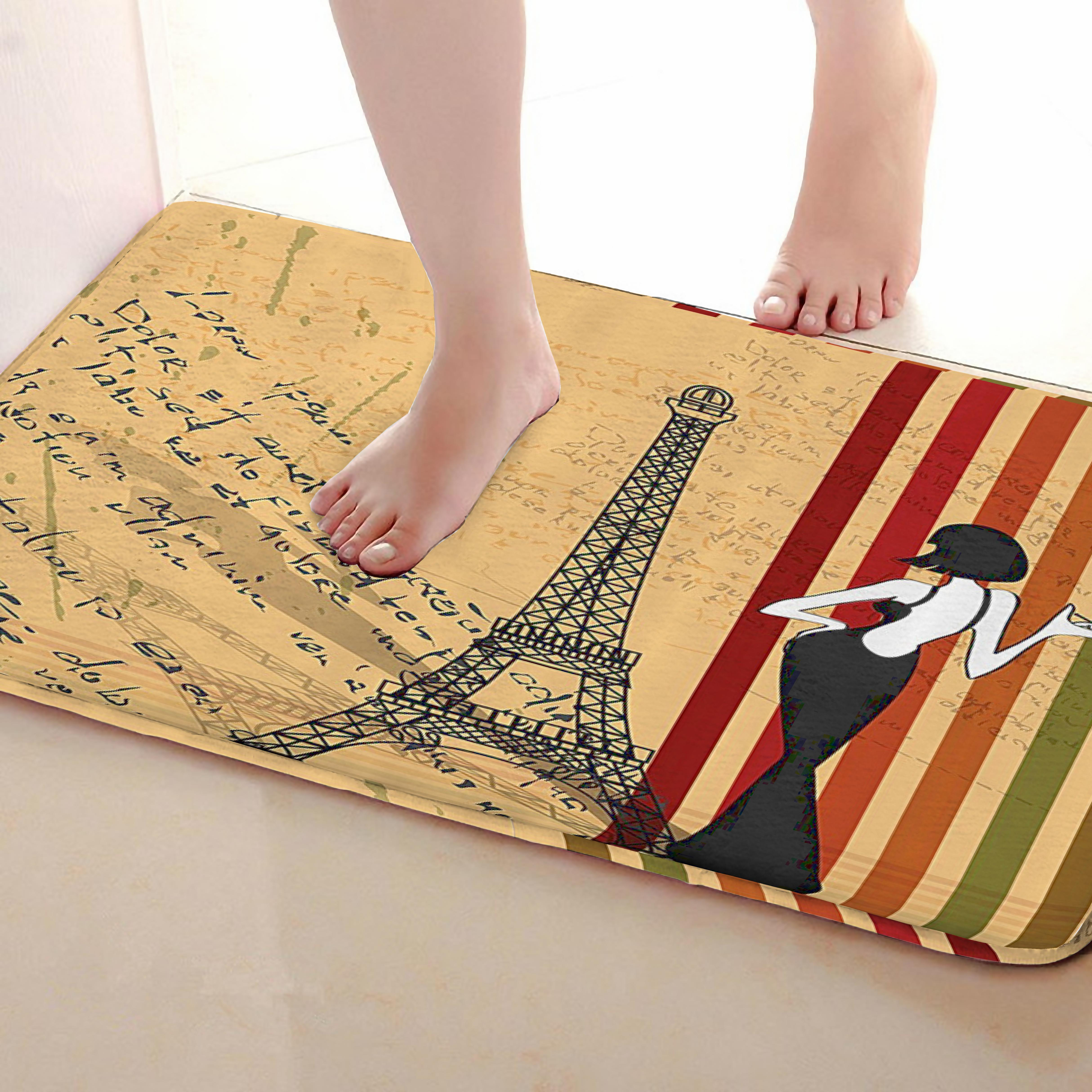 Tower Style Bathroom Mat,Funny Anti Skid Bath Mat,Shower Curtains Accessories,Matching Your Shower Curtain
