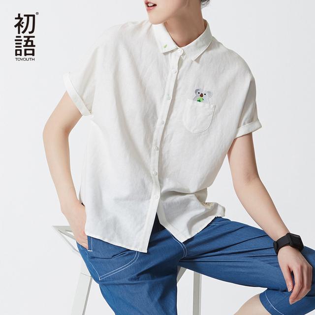 Toyouth Verão New Mulheres Blusas de Manga Curta Turn-Collar Único Breasted Camisas Manga Batwing Fêmea Solta Camisas Brancas