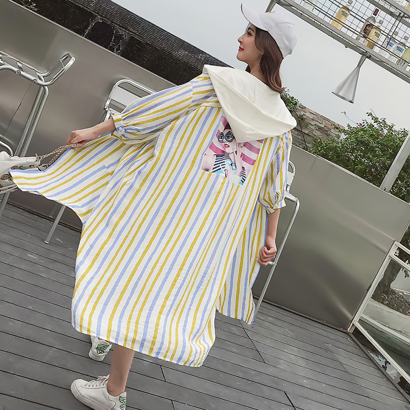 Preppy style colorful stripes long cardigan women 2018 summer thin hooded jacket female loose plus size sun protection top ...