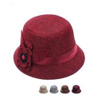 2018 Women Felt Hat New Fedoras Korean Flat Top Bombetta Autumn Linen Fabric Hats Fashion Winter Caps New Casual Chapeau Melon