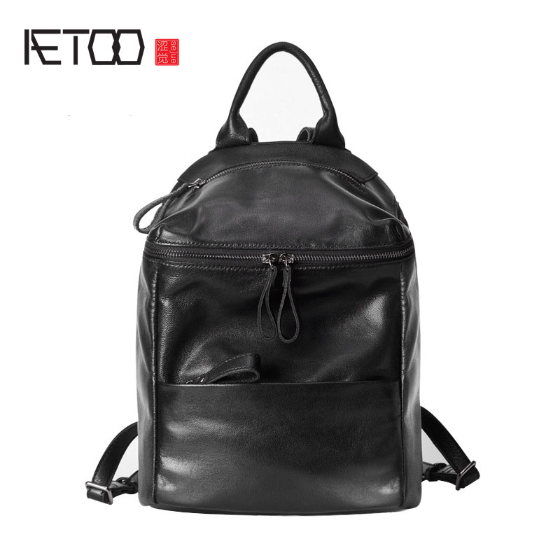 AETOO First layer of sheepskin leather Korean shoulder bag simple neutral black lady travel backpack bag leisure packageAETOO First layer of sheepskin leather Korean shoulder bag simple neutral black lady travel backpack bag leisure package