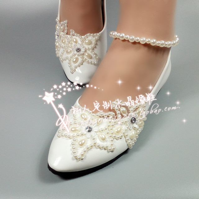 For Big Girl White Flats Shoes Flower Girl Shoes Lace Flower Pearl