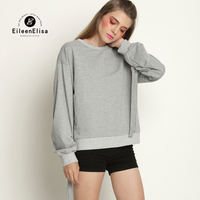 Gray Sweatshirt Women Long Sleeve Solid Autumn Spring Pullovers 2017 Woman Casual Sweatshirts