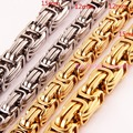 Heavy 7-40inch Custom Sizes 316L Stainless Steel Silver Gold 12/15mm Byzantine Cuba Link Chain Nacklace/Bracelet Men's Jewelry