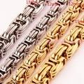 Heavy 7-40inch Custom Sizes 316L Stainless Steel Silver Gold 12/15mm Byzantine Cuba Link Chain Nacklace/Bracelet Men's Jewelry