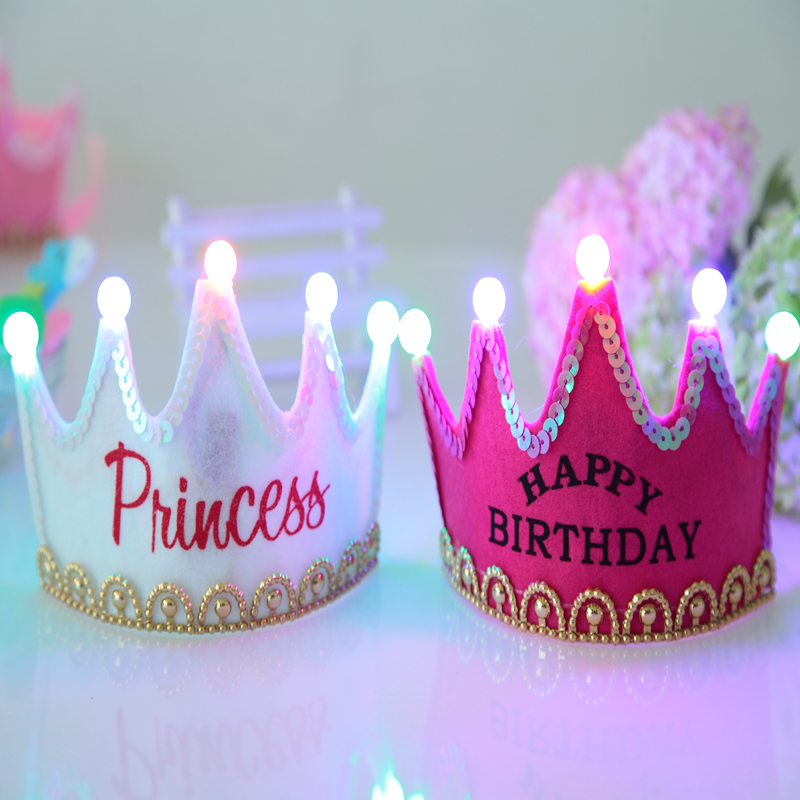 Childrens Birthday Party Supplies Luminous Crown Prince And Princess Hat Decoration Ideas Furnishing In Festive From Home