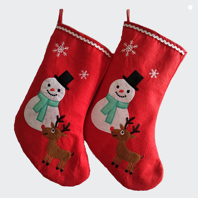 41cm16 inch felt large christmas stocking santa claus snow man reinbeer kid xmas stocking - Large Christmas Stockings