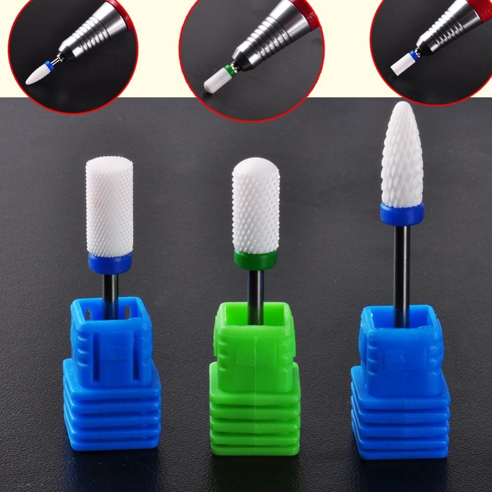 3Pcs/set Nail Manicur Drills Ceramic Foot Bit White Nail Bit Nail Art Salon Electric Drill Manicure File Nail Art Tool