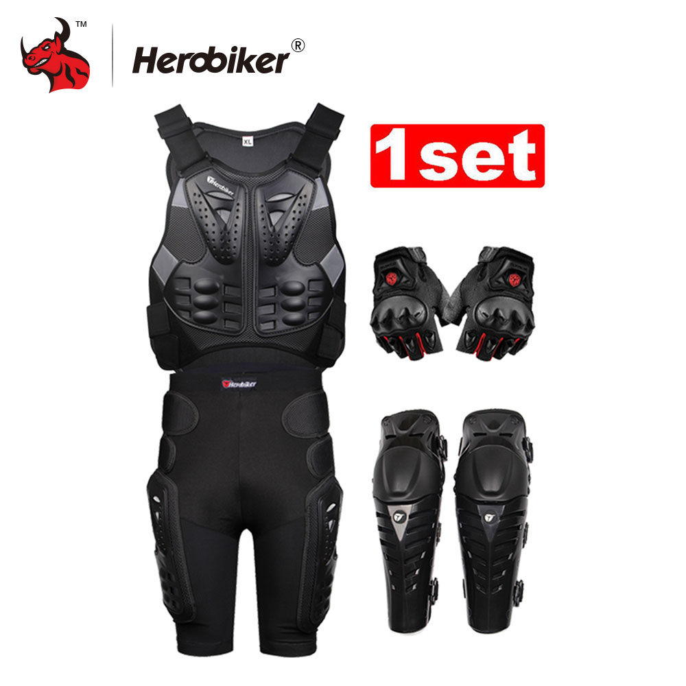 Herobiker Motorcycle Armor With Reflecting Strip Motorcycle Jackets+ Gears Short Pants+protective Motocycle Knee Pad +Gloves herobiker motorcycle body protection motocross racing full body armor gears short pants motocycle knee pad motorcycle armor