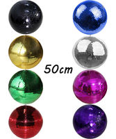 50 50cm 19 7 Inch Large Christmas Glass Floating Led Rotating Disco Mirror Ball Green Blue