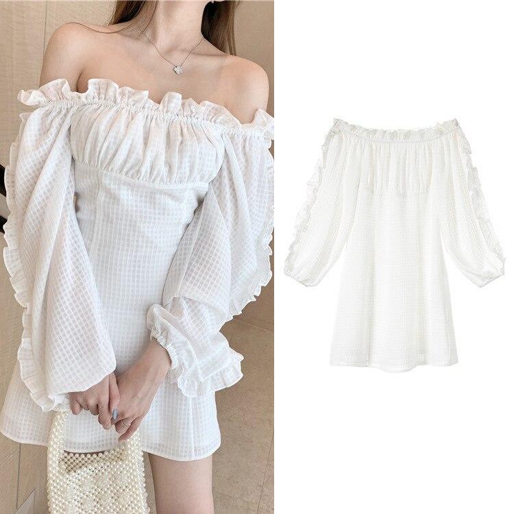 Nouveau blanc robe à carreaux femme 2019 été machine soigneusement un mot épaule robe G0555 fée princesse