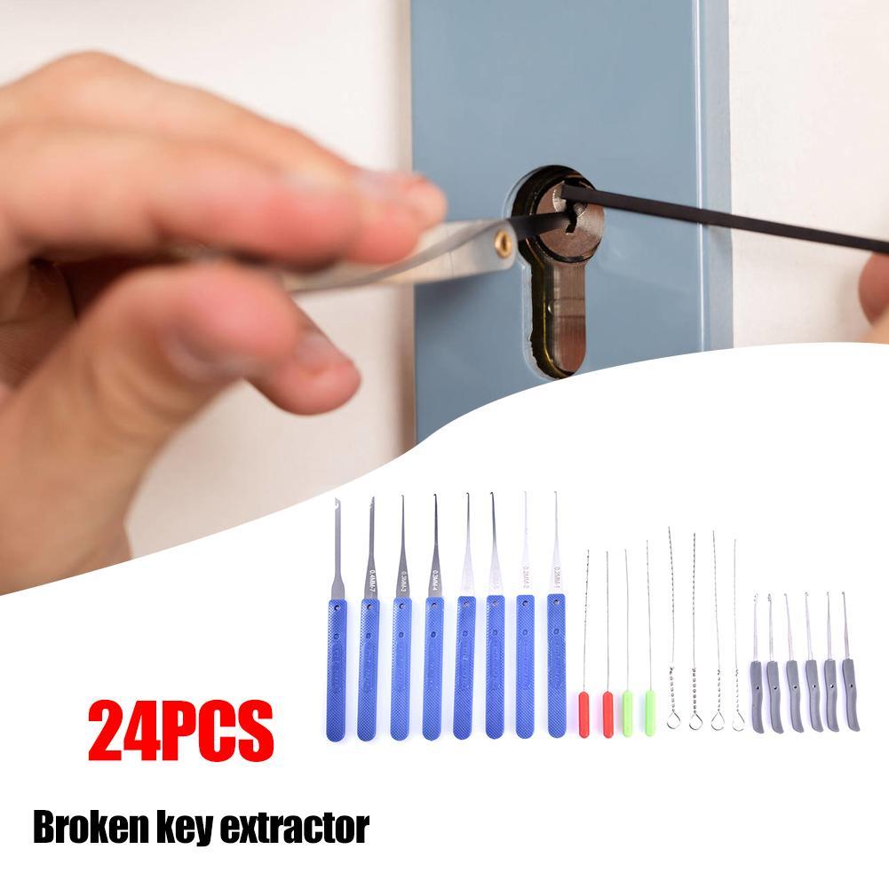 24pcs Locksmith Supplies Tool Broken Key Extractor Removal Hook Set Handle Lock Tool
