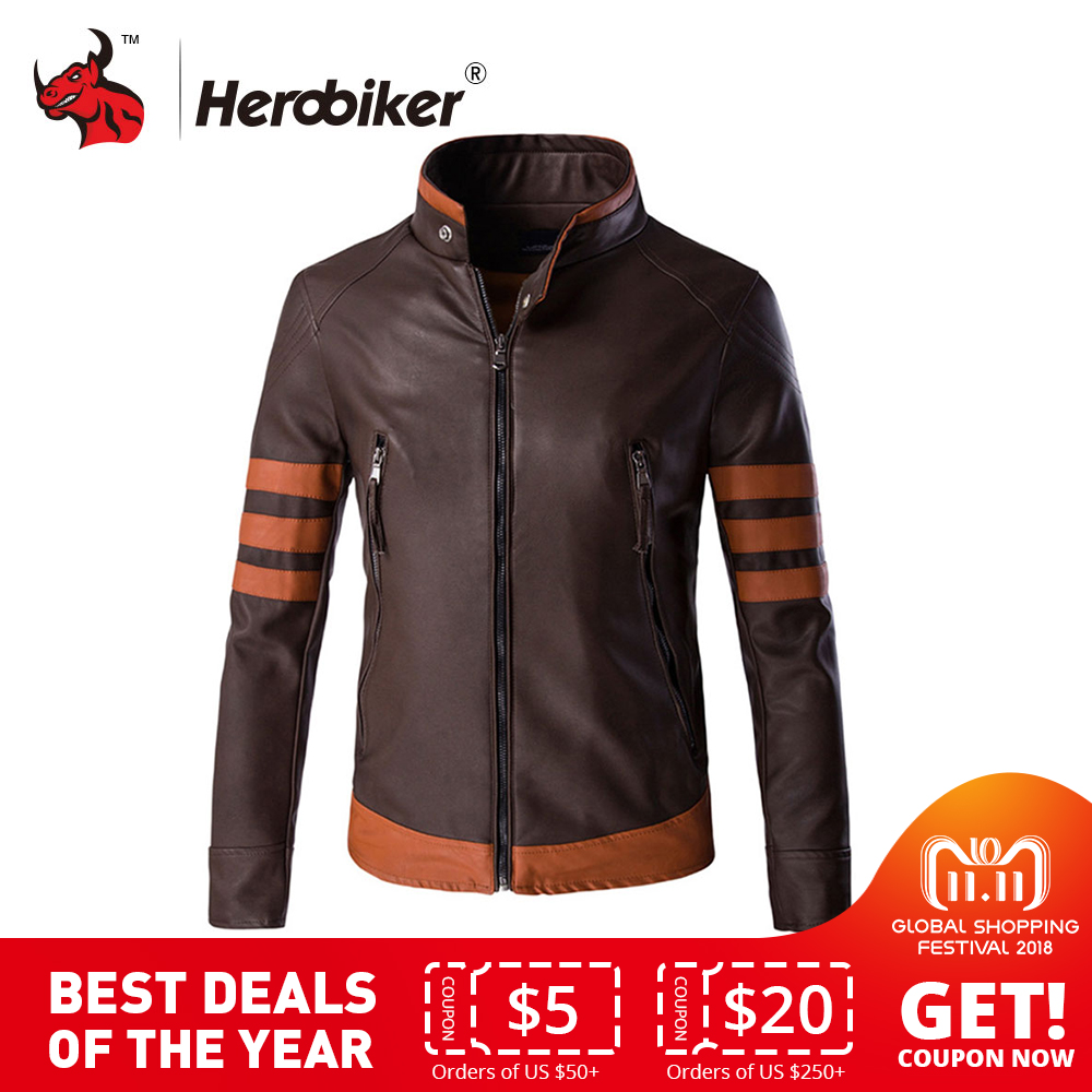 Motorcycle Jackets Men Vintage Retro PU Leather Jacket Punk Windproof Biker Classical Faux Leather Slim Moto Jacket hanqiu leather jacket men winter autumn pu faux leather solid jackets slim fit zipper pocket stand collar casual men jacket