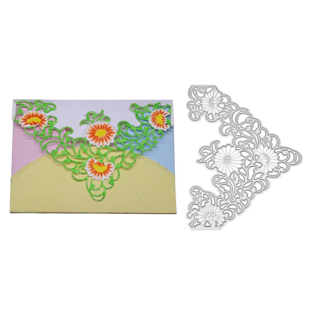 Цветочные угловые металлические режущие штампы трафареты для DIY штамп