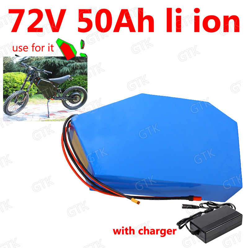 GTK 72v 50Ah lithium ion triangle battery 18650 li ion Polygon battery for 5000w Mountain Bike scooter Motorcycle + 5A charger